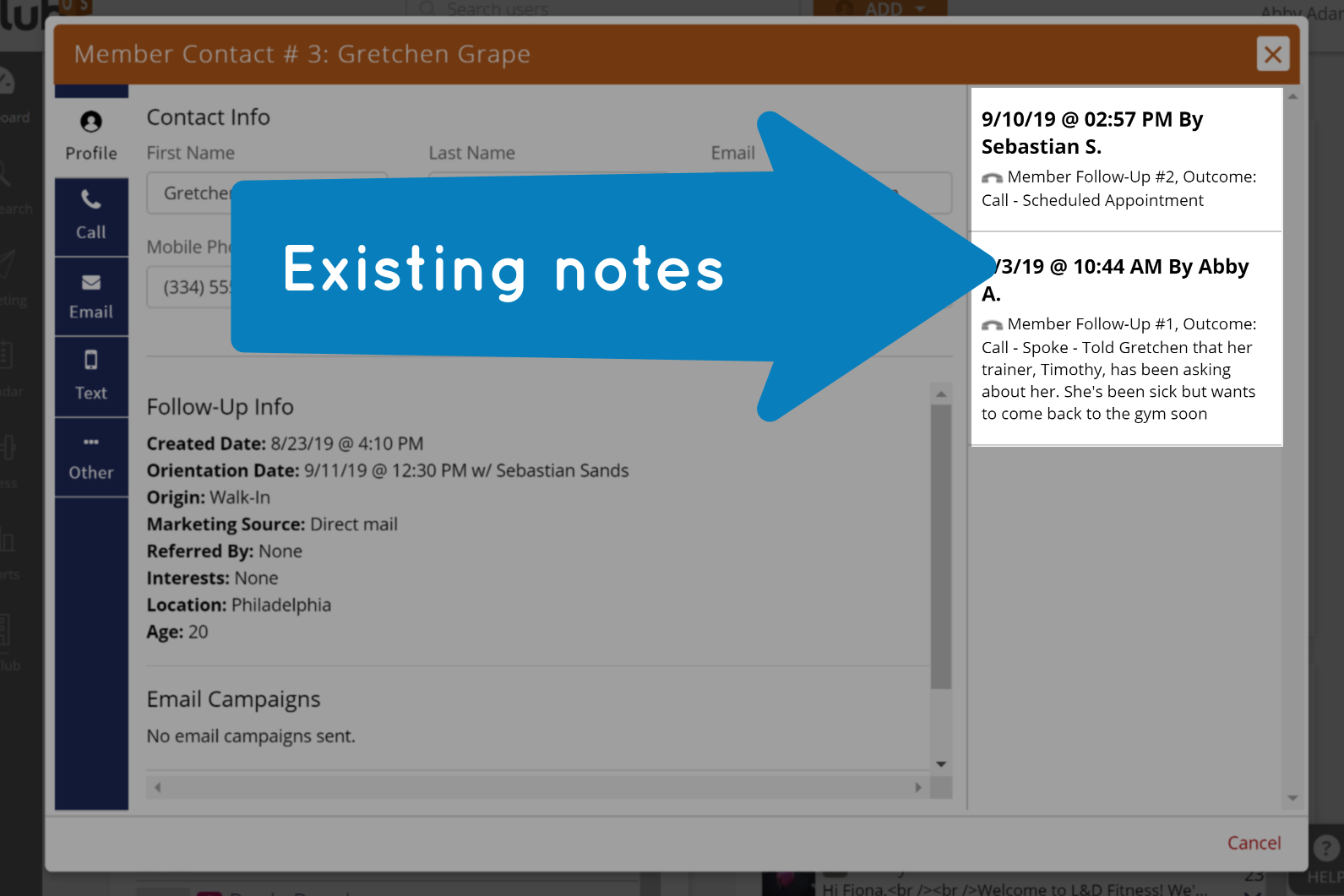 existing notes on followup window