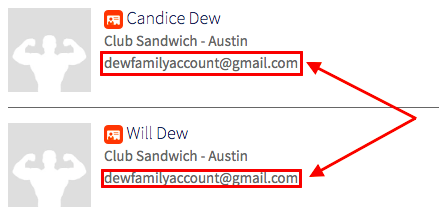 two accounts with same email address